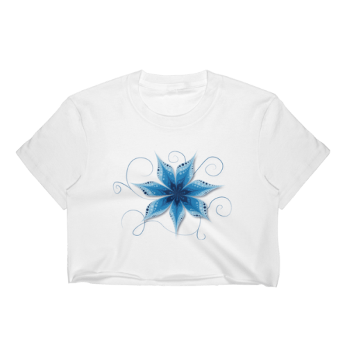 Blue Flower Waves Crop Top