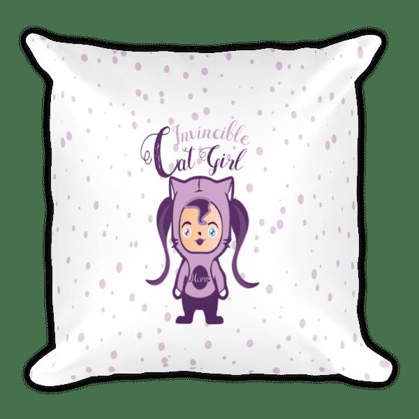 Chibi Invincible Cat Girl Square Pillow