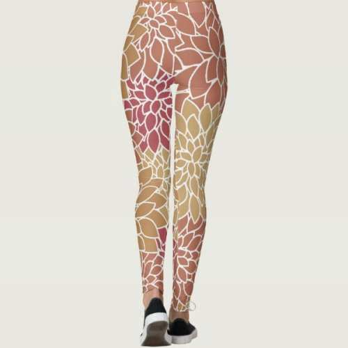 Abstract Leafy Multi-color Leggings