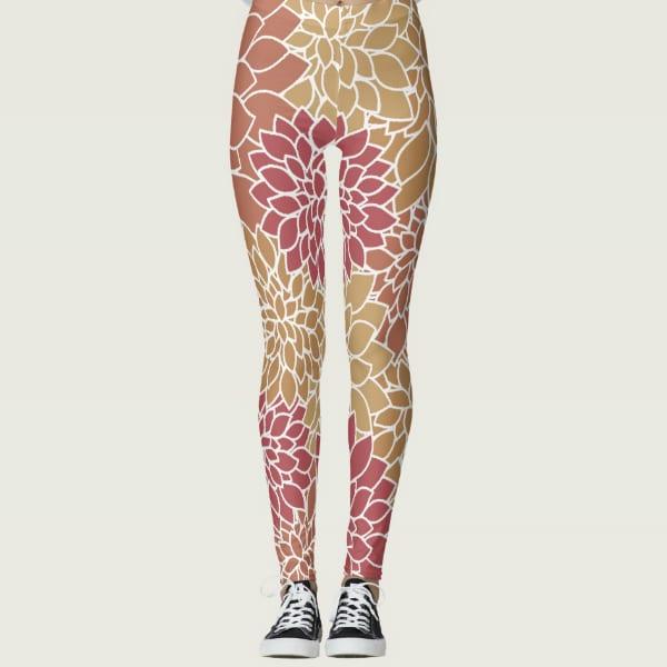 Abstract Leafy Multi-color Leggings