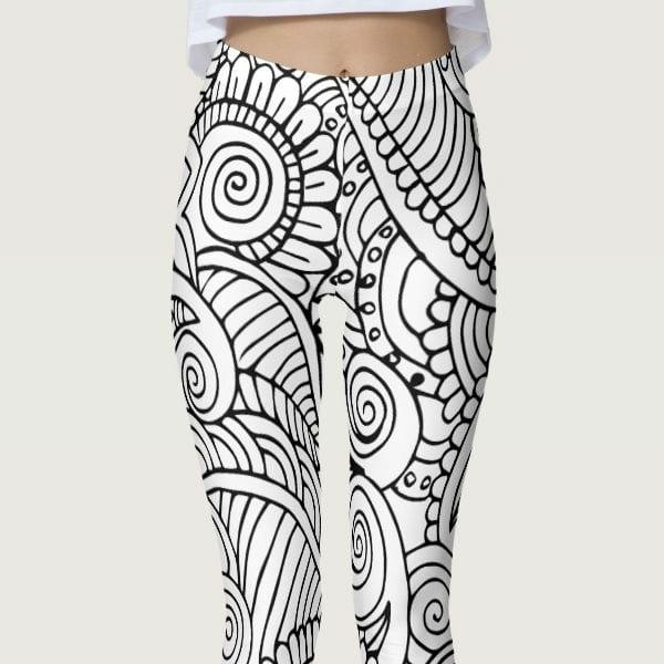 Color Me In Black and White Floral Mandala Leggings