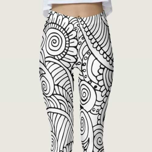 Color Me In Black and White Floral Mandala Leggings