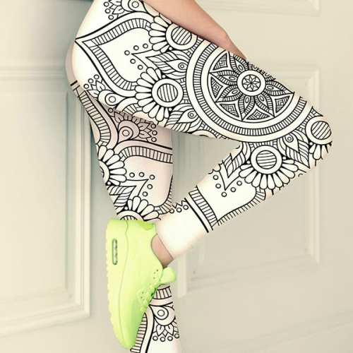 bohemian black and white leggings thumb zoom