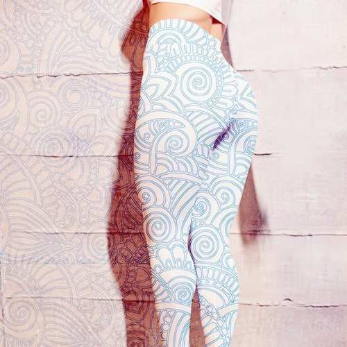 blue and white floral mandala womens leggings