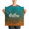 Restless Hearts Blue and Orange Nostalgic Sea Poster