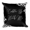 Cuddle Up With Me Classic Black and White Ornamental Square Pillow