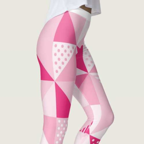 Geometric Pink Yoga Leggings
