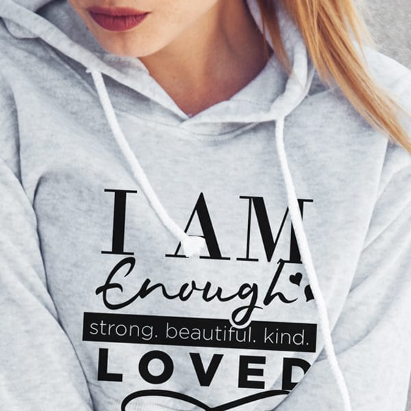 "I am Enough I am Loved Sweatshirt, Self love sweatshirt, I am Enough and I am Loved Sweatshirt, ""I am Enough, and I am Loved"" Hooded Sweatshirt"