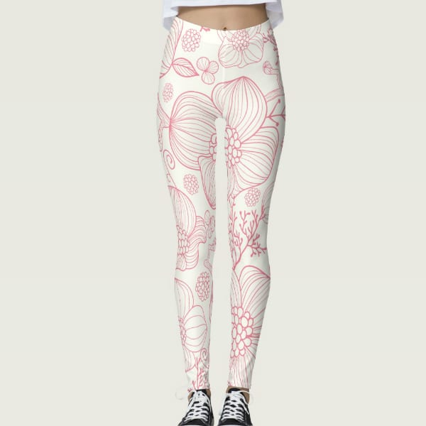 Soft Pretty in Pink Flower Leggings