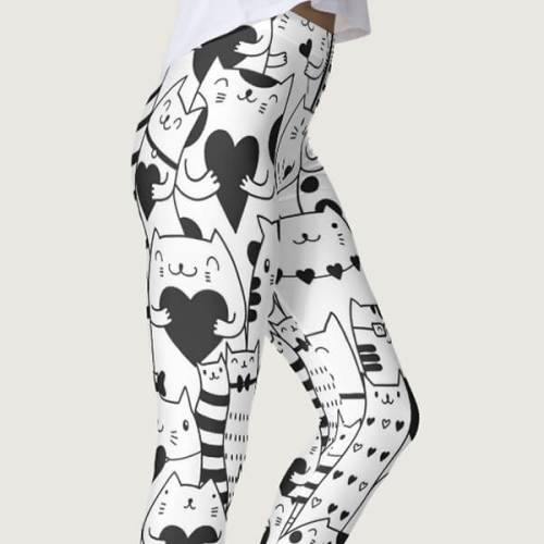 Heart You Valentine Black and White Cat Leggings, cat yoga pants, cat print leggings