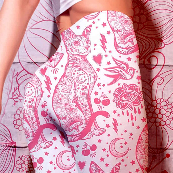 Print Cat Leggings With Gothic Pink Sphynx Cat Tattoo Pattern