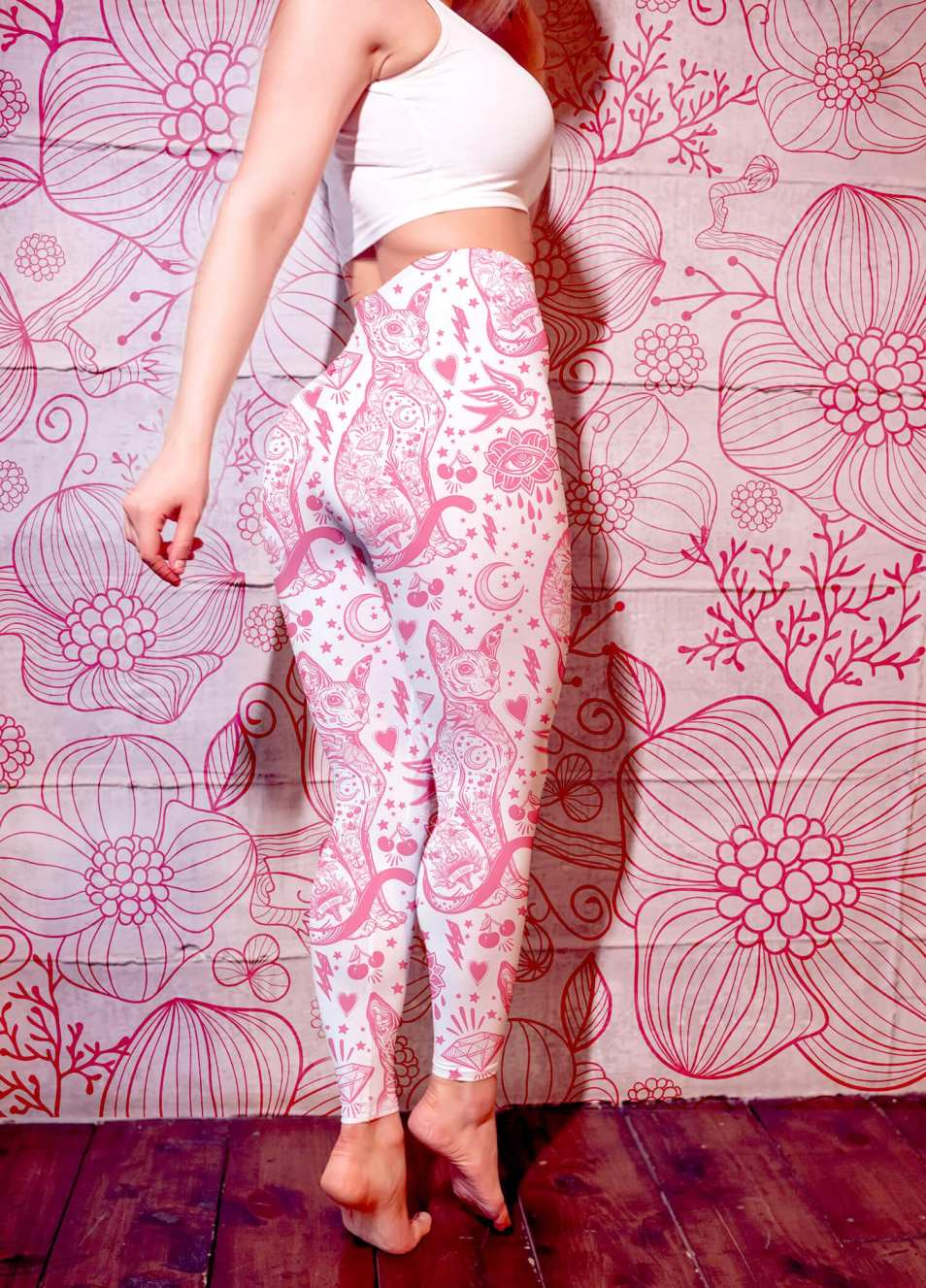 Pink Sphynx Cat Tattoo Leggings
