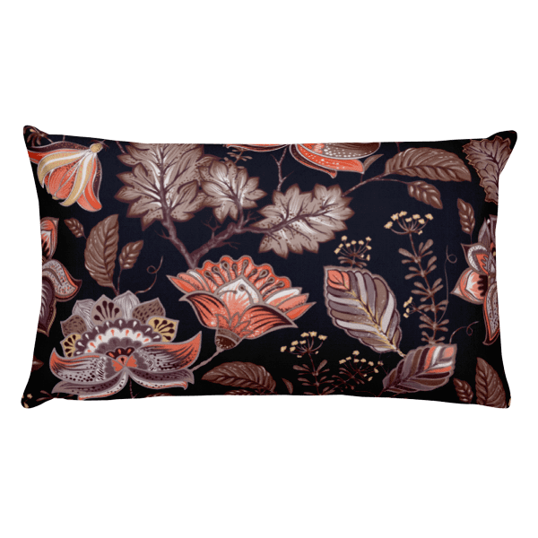 Brown Multi-Color Nature Leaves Pattern Rectangular Pillow