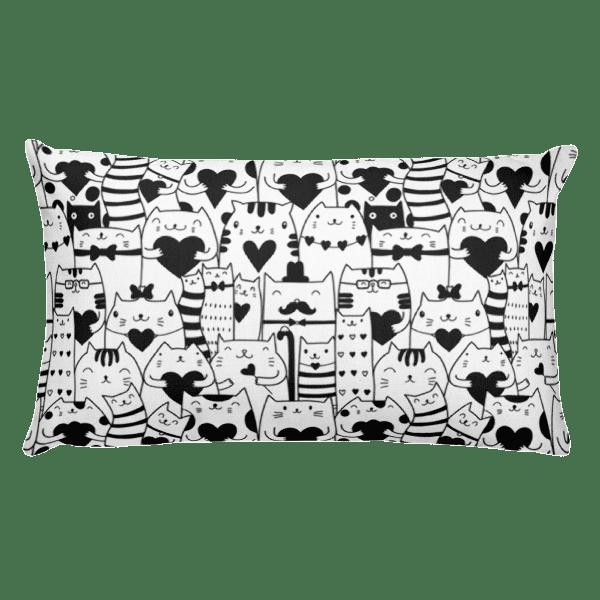 Heart You Black and White Cat Rectangular Pillow