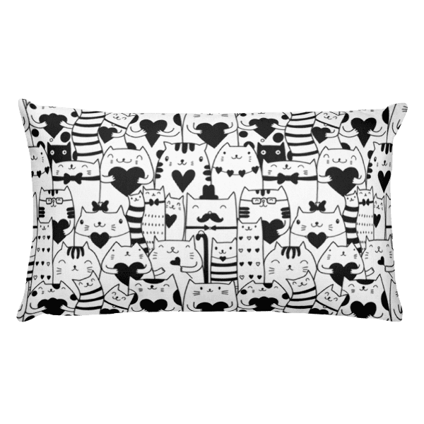 Heart You Black and White Cat Rectangular Pillow