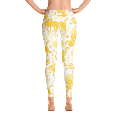 Meow Love Yellow Cat Leggings