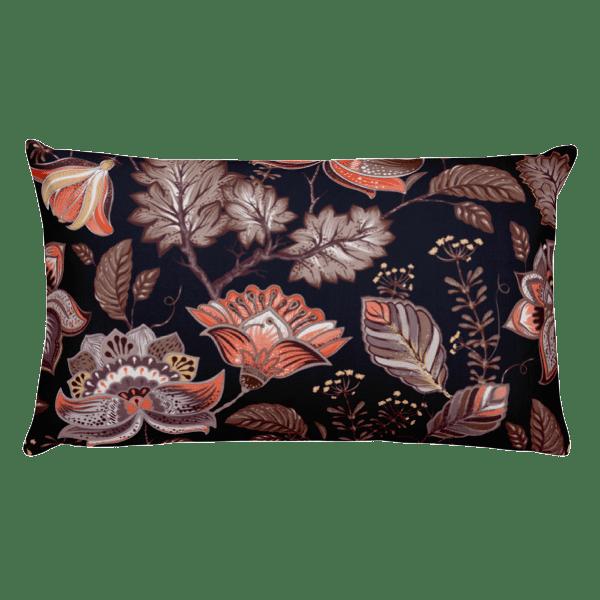 Brown Multi-Color Nature Leaves Pattern Rectangular Pillow