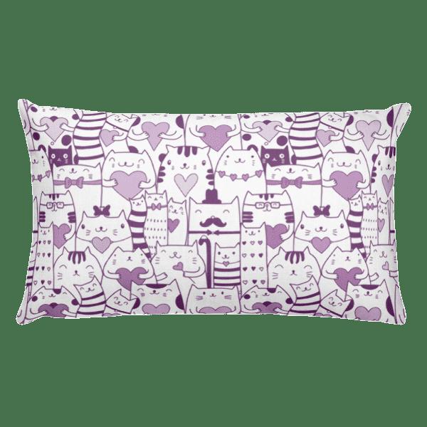 Heart You Purple and White Cat Rectangular Pillow