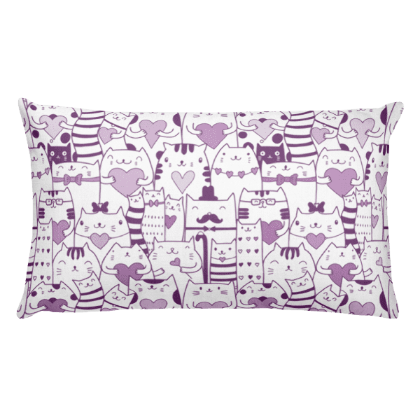 Heart You Purple and White Cat Rectangular Pillow