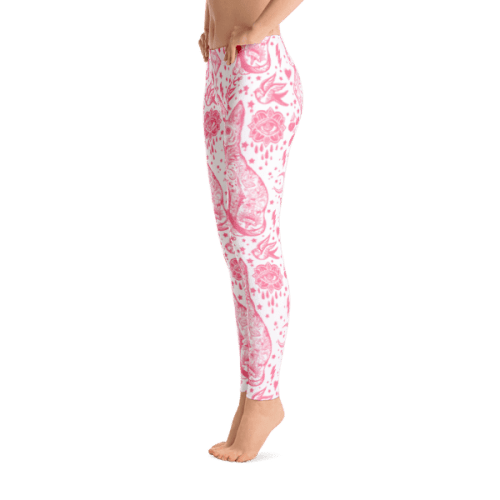 Tattoo Pink and White Cat Pattern Leggings