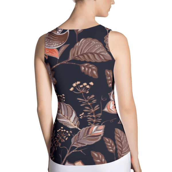 Brown Multi-Color Nature Leaves Pattern Tank Top