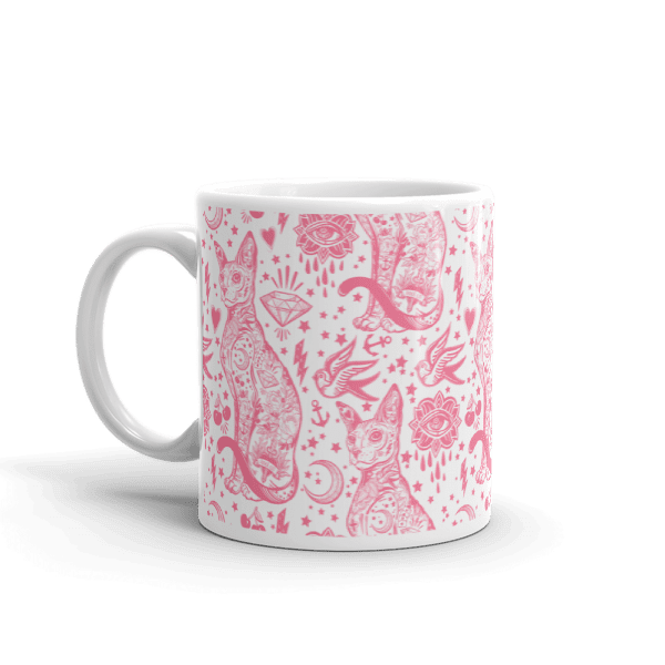 Tattoo Pink and White Cat Pattern Mug