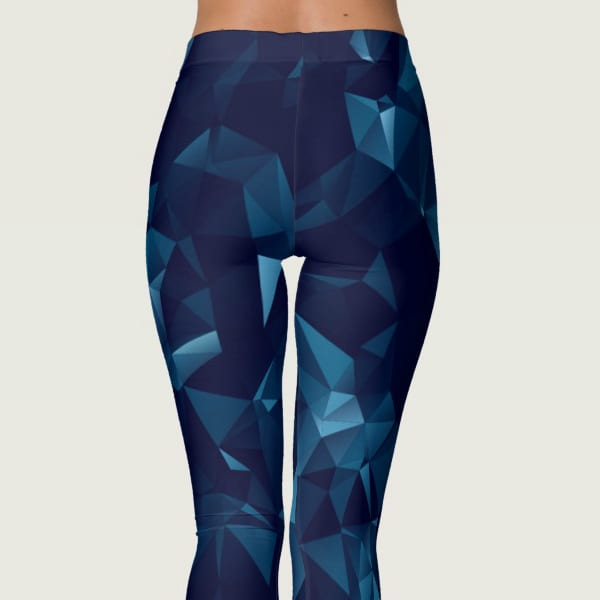 Dark Blue Polygonal Mesh Print Pattern Leggings