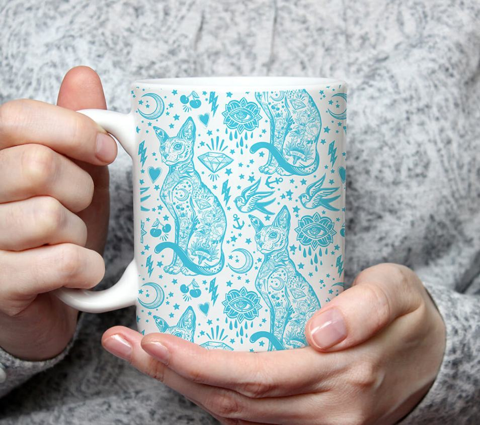 Blue Sphynx Cat Tattoo Coffee Mug