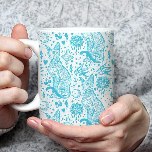 Sphynx Tattoo Blue and White Cat Pattern Mug