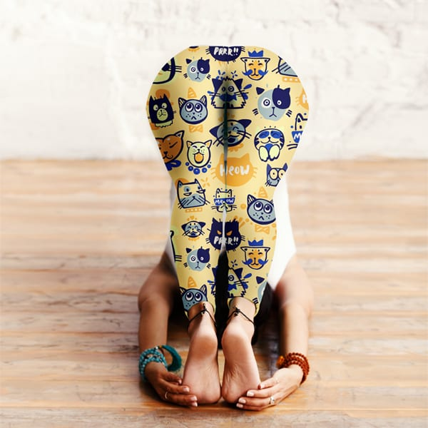 Orange Colorful Multi-Cat Pattern Leggings