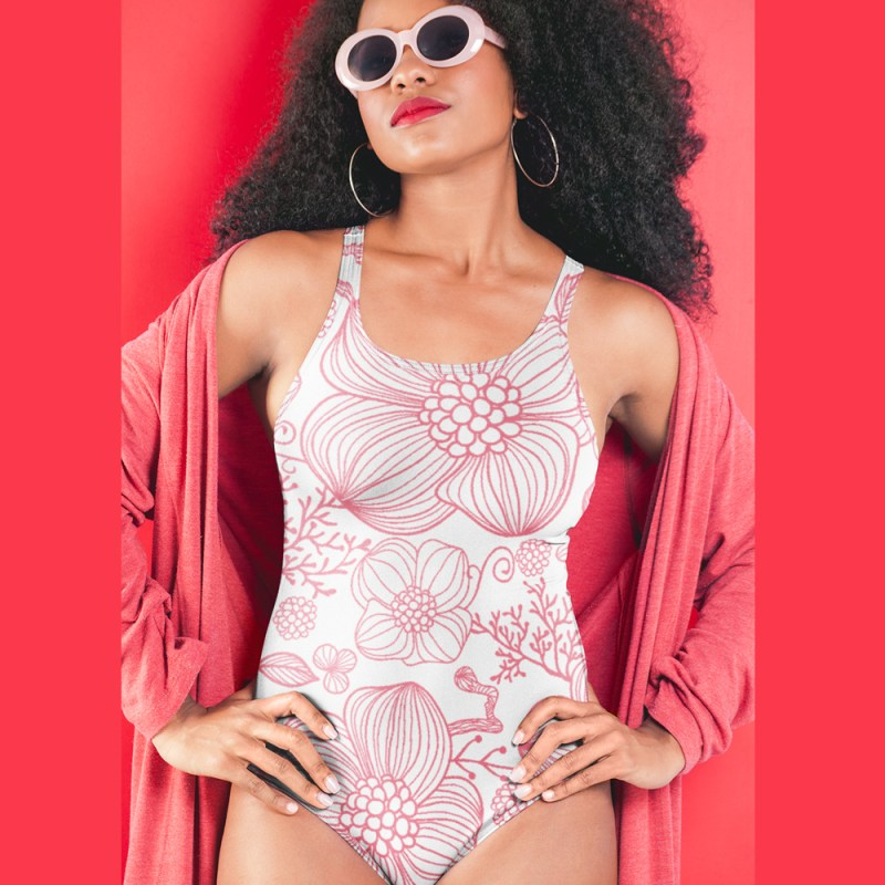 Soft Pretty in Pink Flowers One-Piece Swimsuit