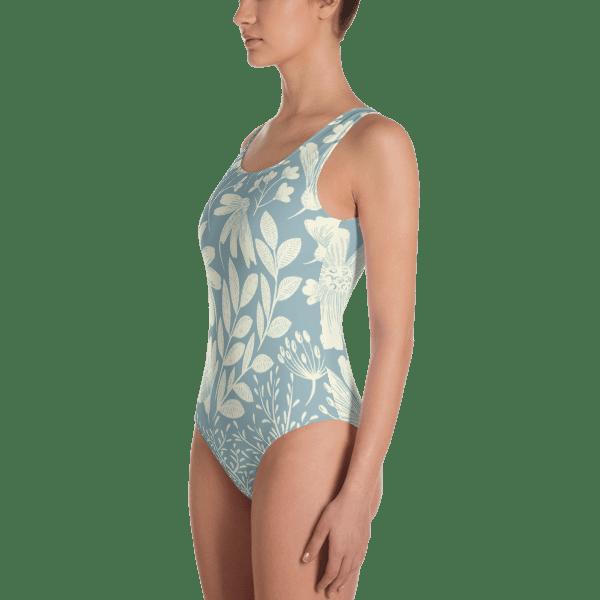 Floral Pastel Blue One-Piece Swimsuit