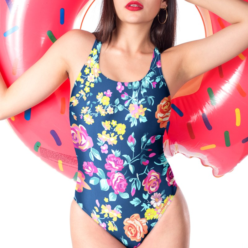 Gorgeous Colorful Chaos Flower Pattern One-Piece Swimsuit