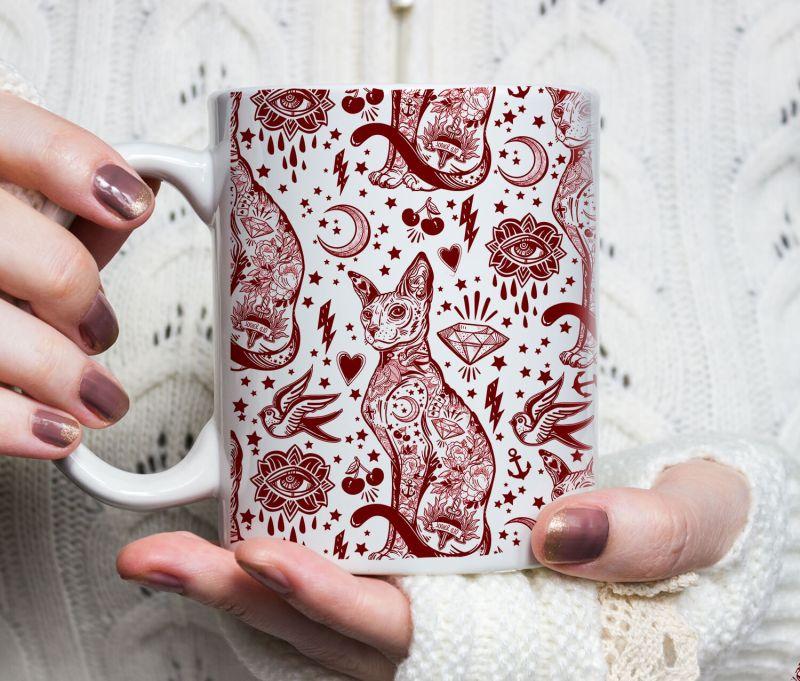 Cat Lover Gift, Bohemian Red and White Cat Pattern Tattoo Mug