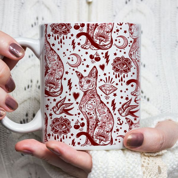 Cat Lover Gift, Bohemian Red and White Cat Pattern Tattoo Mug