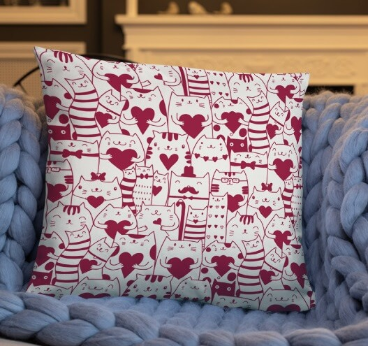 Kittens Cat Heart Pattern Valentine's day Pillow Covers | Valentine Home Decoration