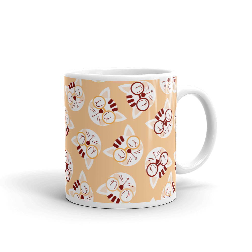 Coffee and Cream Cat Pattern Mug