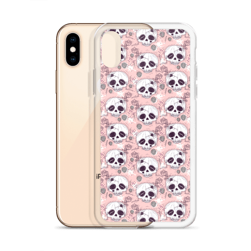 Death Before Cutie Floral Half Skull iPhone Case - iPhone 6s Case, iPhone 8 case, iPhone X case