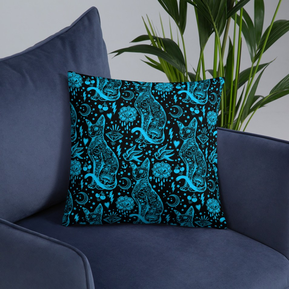 Blue and Black Sphynx Cat Pillow