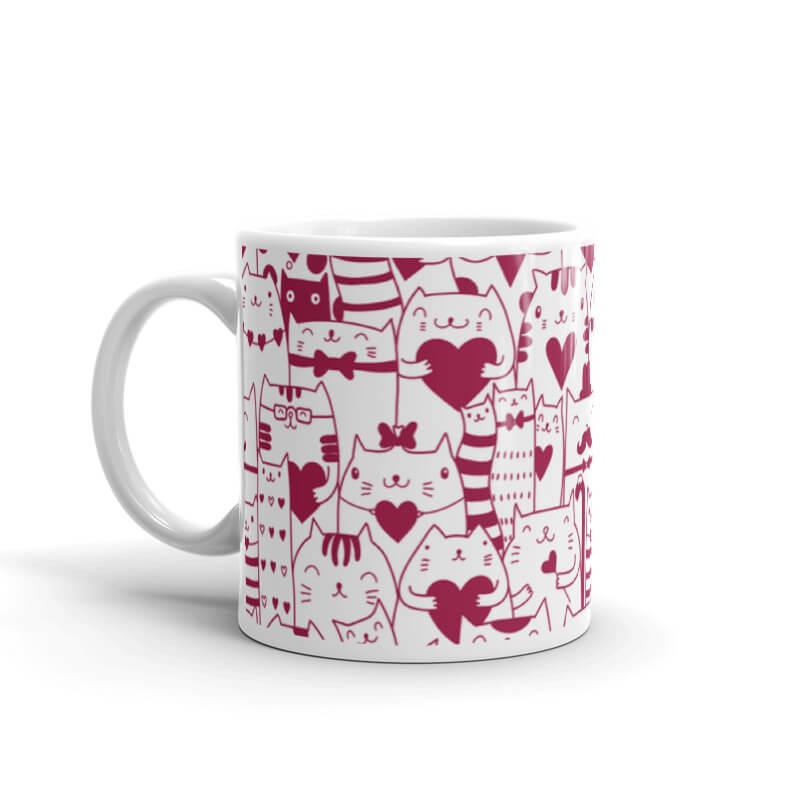 Red Valentine Cat Coffee Mug - Cat Lover Gift