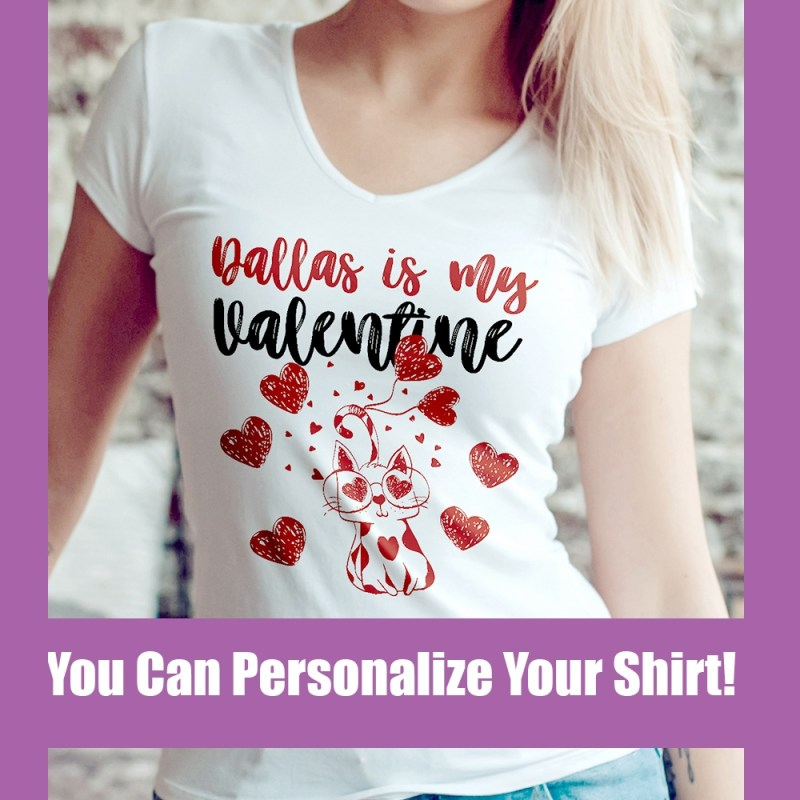 personalize valentine cat shirt
