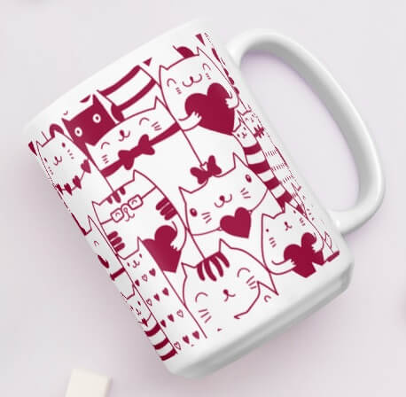 Red Valentine Cat Coffee Mug - Cat Lover Gift
