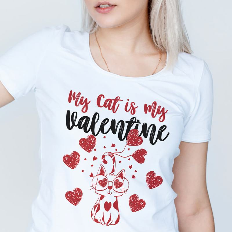 My Cat is my valentine cat lovers funny cat Shirt