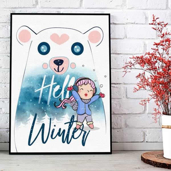 Cute Winter Heart Polar Bear Sweet Wall Art Print Poster