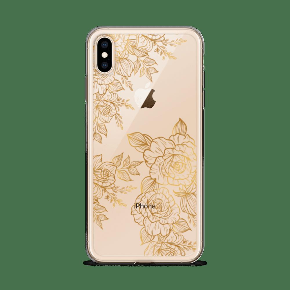 Golden Rose Peony Tattoo iPhone Case