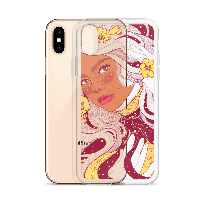 Starry Daffodil Flower Child Clear iPhone Case