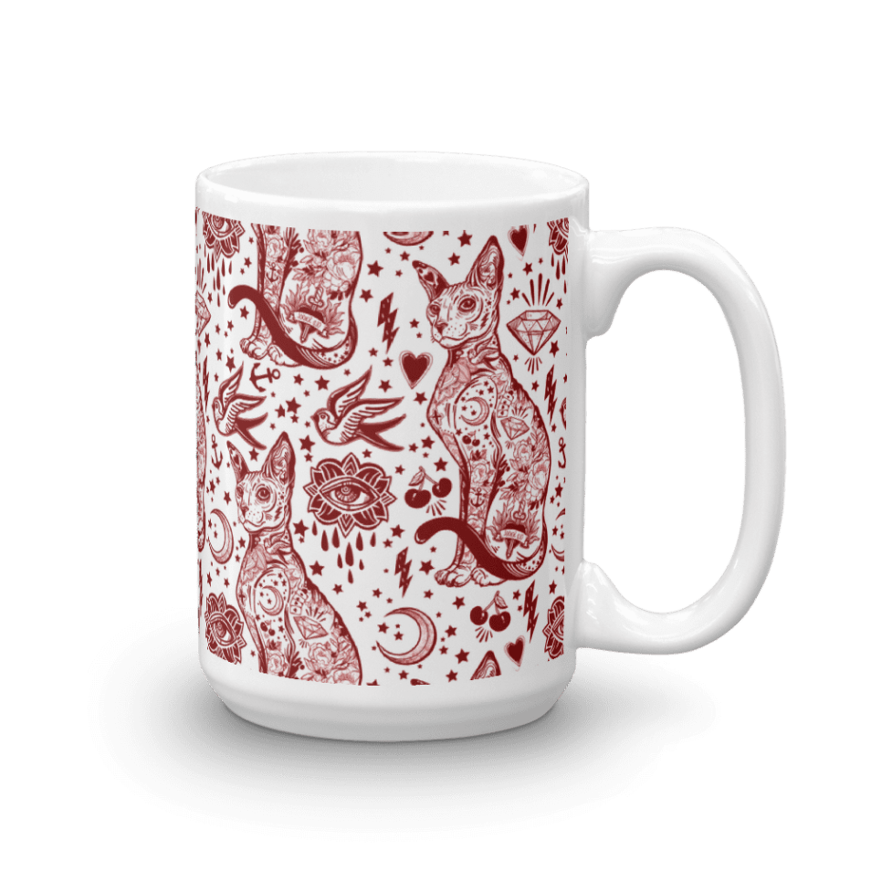 Sphynx Cat coffee mug, Bohemian Valentine Red and White Cat Pattern Tattoo Mug