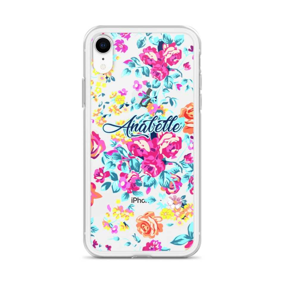Colorful Watercolor Anemone Personalized iPhone Case