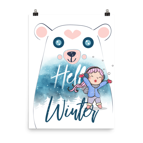 Cute Winter Heart Polar Bear Sweet Wall Art Print Poster