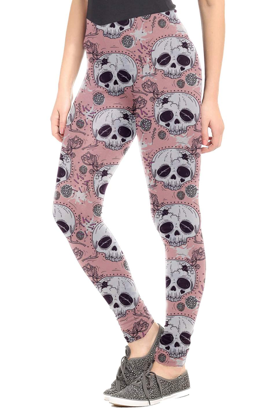 Pink Floral Skull Leggings